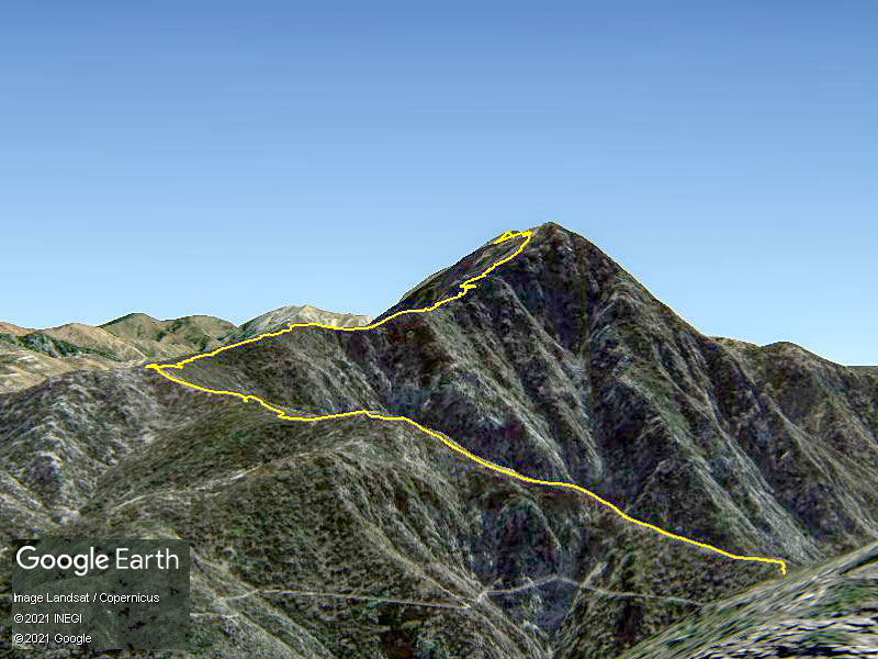 This Google Earth image also shows Strawberry Peak from Josephine Peak, along with my GPS track. The track location is approximate, particularly on the upper part of Strawberry, where multipath errors may occur.
