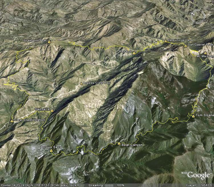Google Earth image of Strawberry - Bear Canyon loop.