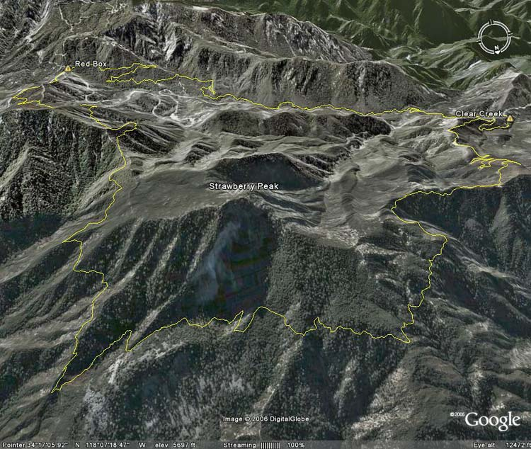 Google Earth image of Strawberry Peak Circuit.