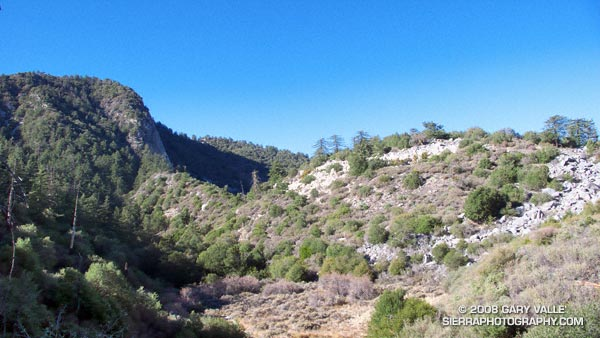 North face of Strawberry Peak from near the junction of the Strawberry and Colby Canyon trails.