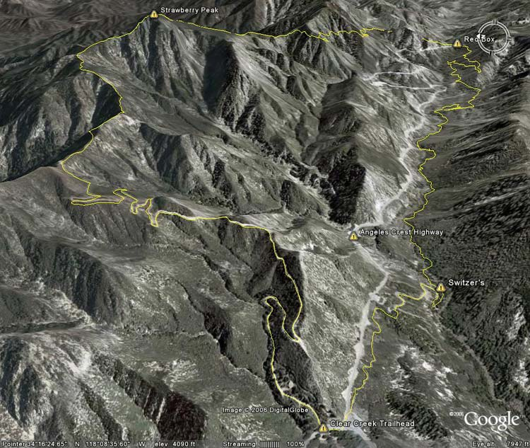 Google Earth image of the Strawberry Peak traverse and loop.