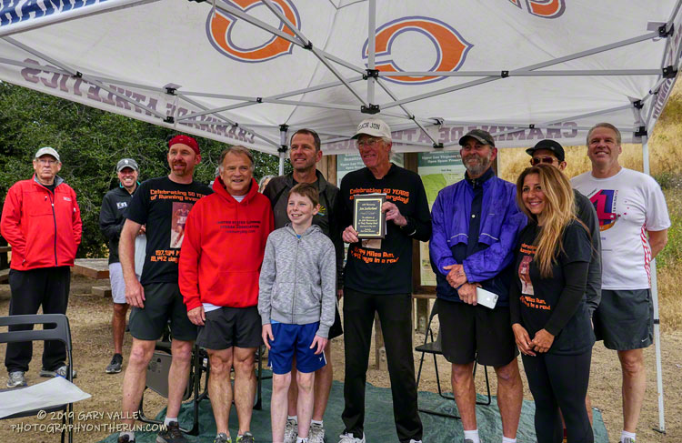 Jon Sutherland with United States Running Streak Association President Mark Washburne and several other U.S.R.S.A. streakers.