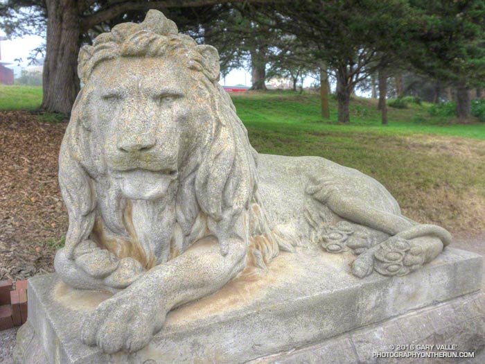 One of the pair of lions at the entrance of <a href=