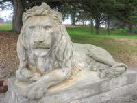 One of two lion statues at the entrance to Sutro Heights Park.