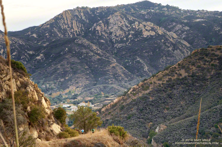 A couple of runners descending the Mesa Peak Mtwy segment of the Backbone Trail to Malibu Canyon. (From a run on 12/23/2017.)