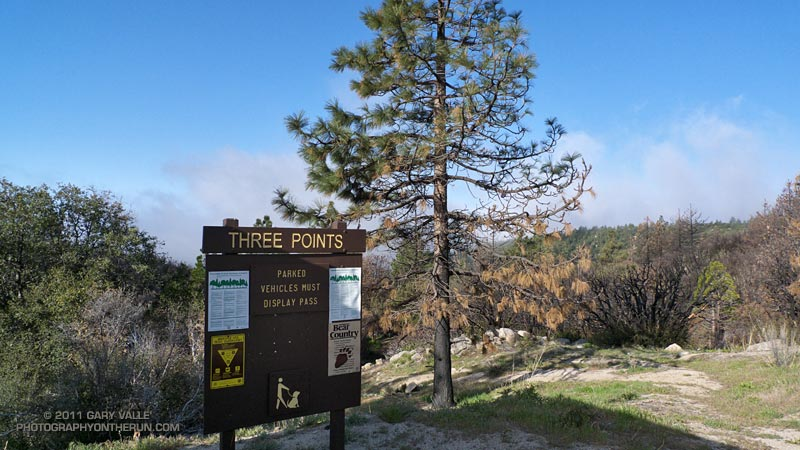 The Three Points trailhead was just above the deep cloud layer. The trailhead is at the junction of Santa Clara Divide Road and Angeles Crest Highway (Hwy 2) in the San Gabriel Mountains. April 24, 2011.