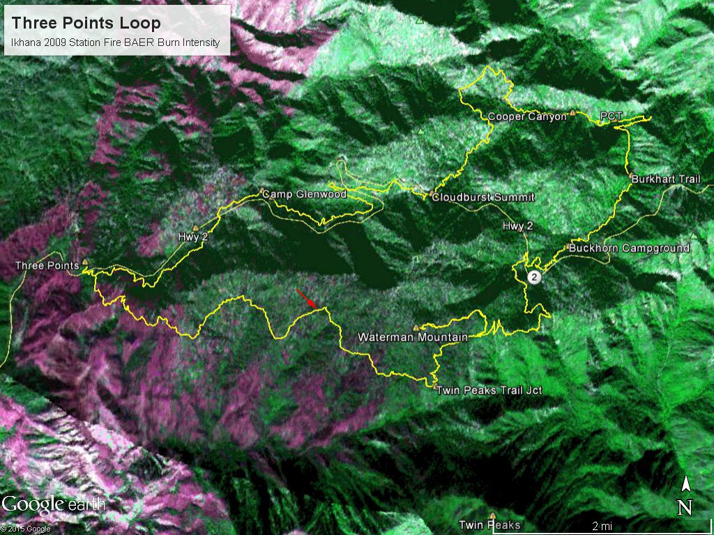 Part of a Burned Area Emergency Response (BAER) image taken of the Station Fire Burn Area by the NASA Ikhana remotely piloted aircraft in 2009  with a GPS track (yellow) of the Three Points - Mt. Waterman loop. The hues of purple indicate burn intensity. (Ikhana image courtesy of NASA Dryden and NASA Ames. Composite image created using Google Earth Pro.)