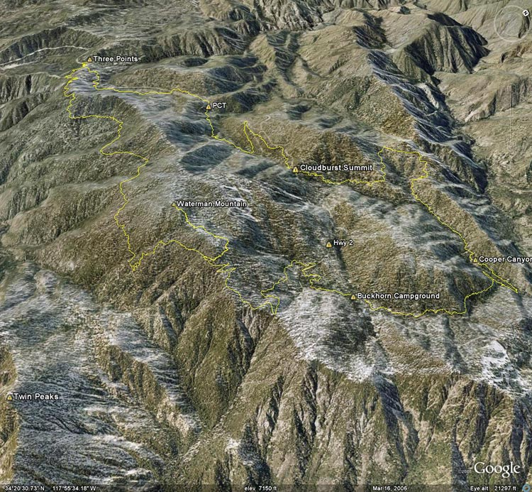 Google Earth image of a GPS trace of the Three Points loop with a side trip to the summit of Mt. Waterman.
