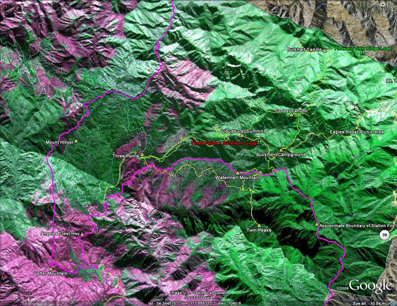 Area of Three Points, Mt. Waterman, Twin Peaks and Buckhorn in the San Gabriel Mountains with NASA Ikhana burn severity image overlay.