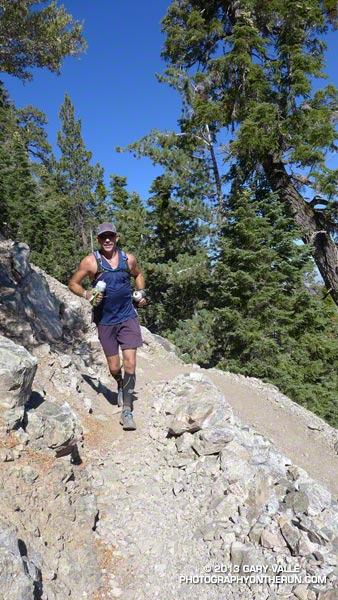 Tim running a moderate stretch on the trail up up Mt. Baden-Powell. He had done this stretch just two weeks before on his way to a sub-26 hour finish in the Angeles Crest 100 mile run.