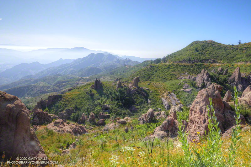 Looking along the crest of the Santa Monica Mountains from near the top of the Bulldog fire road.