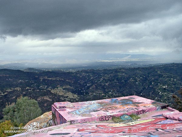 Clouds and showers over the San Fernando Valley from the abandoned Topanga fire lookout site.