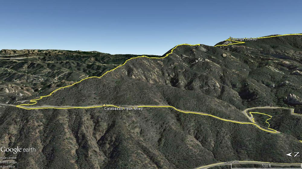 Google Earth image of Topanga Lookout Ridge. The mile and a half long ridge extends from near the junction of Calabasas Peak Motorway and Red Rock Road to the Topanga Lookout, gaining about 1200' in elevation along the way.