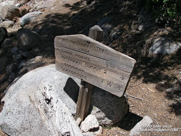 Trail sign on the Mt. Waterman Trail in the San Gabriel Mountains.
