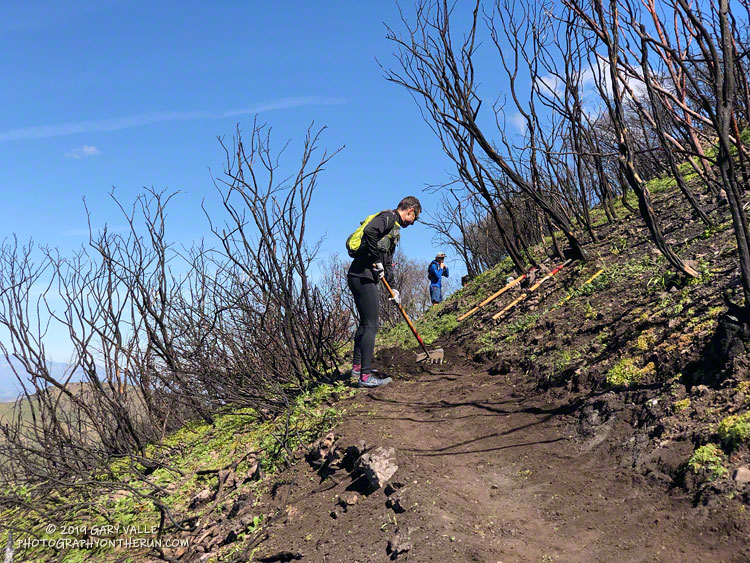 Trail runners assisting the SMMTC in trail work on the Chamberlain Trail segment of the Backbone Trail.