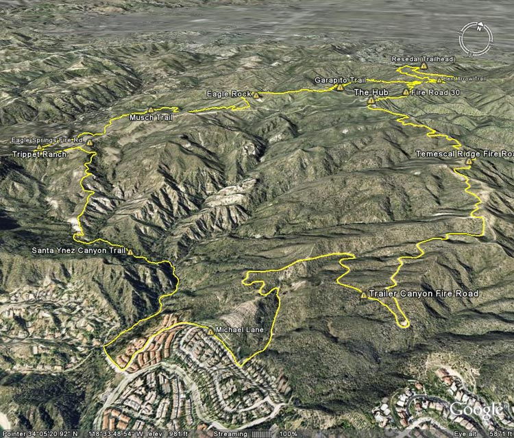 Google Earth image of a GPS trace of the Trailer Canyon - Trippet Ranch Loop from the end of Reseda Blvd.