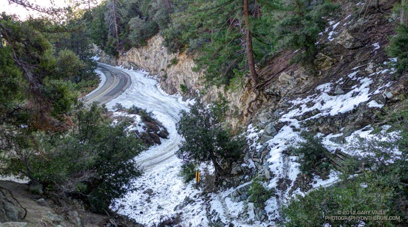 Snow on the San Gabriel Peak Trail near the trailhead on Mt. Wilson Road. March 4, 2012.