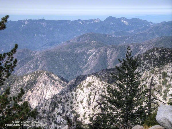 Mt. Wilson, Occidental Peak, Mt. Markham, San Gabriel Peak, Mt. Disappointment, and Mt. Deception from the summit of Twin Peaks, in the San Gabriel Mountains, near Los Angeles.