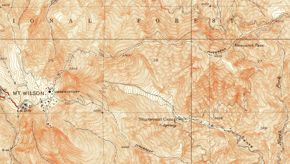 1939 edition of the USGS 1:24000 Mt. Wilson Quadrangle. The route of the Rim Trail is generally adjacent to the firebreak.