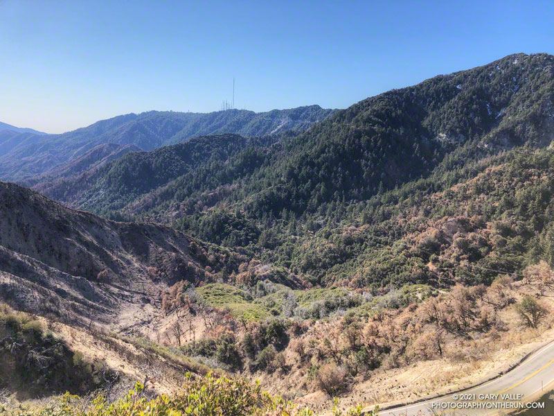 The upper West Fork near Red Box from the Strawberry Trail. The fire scar is from the 2020 Bobcat Fire. Mt. Wilson is in the distance. March 28, 2021.