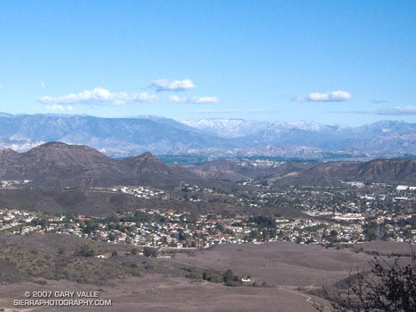 Rancho Sierra Vista/Satwiwa and the Conejo Valley with snow on the peaks of the Ventura mountains