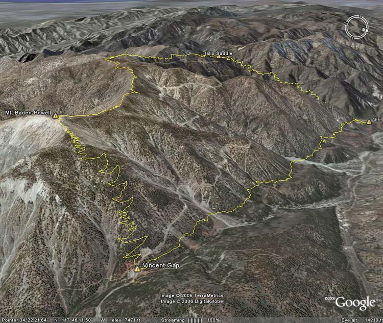 Google Earth image of Vincent Gap - Mt. Baden-Powell - Islip Saddle - South Fork loop.