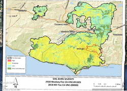 Woolsey and Hill Fires WERT Soil Burn Severity Map with Bulldog Loop track added