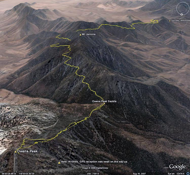 Google Earth image of a GPS trace of our route from Walker Pass to Owens Peak Saddle on the PCT and then up the ridge to Owens Peak. GPS reception was poor at times.