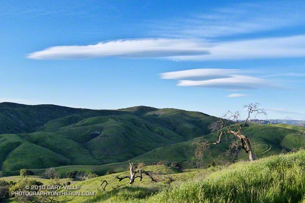 Lenticular wave clouds northwest of Los Angeles.