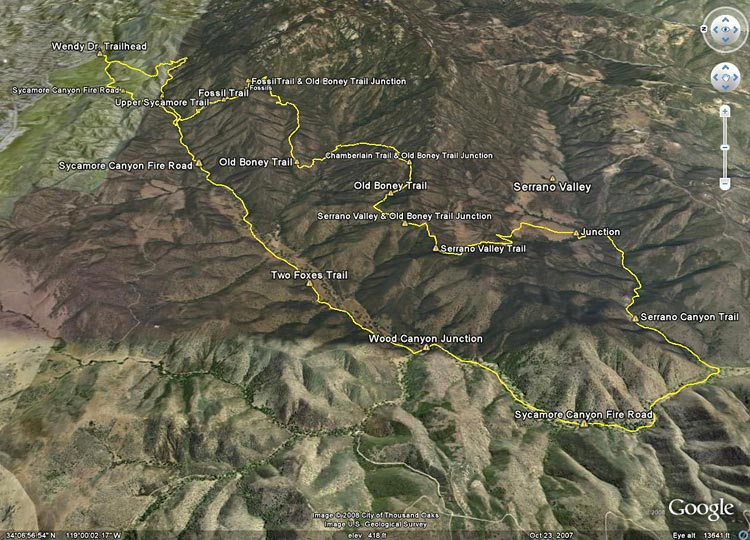 Google Earth image of a GPS trace of our route to Serrano Valley and back from Wendy Drive.