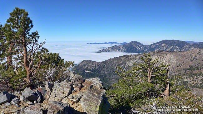 View southwest from Sadie Hawkins past Twin Peaks to Mt. Wilson