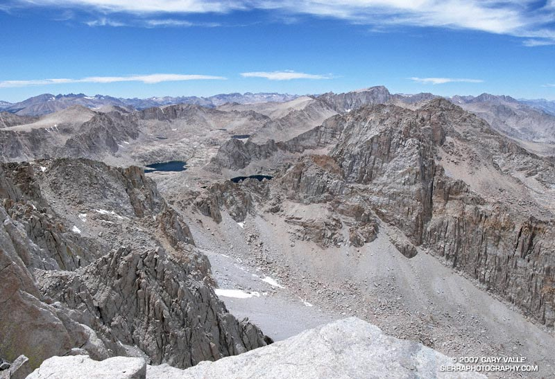 A wide-angle composite photograph of Mt. Whitney and the Sierra crest from the summit of Mt. Langley. June 23, 2007.