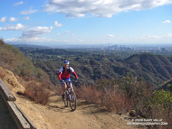 Mountain biker on the Will Rogers segment of the Backbone Trail in the Santa Monica Mountains