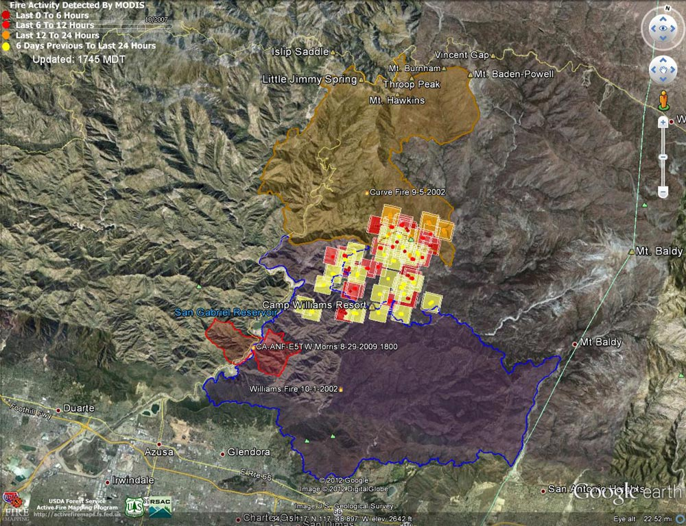 Google Earth image of 2012 Williams Fire MODIS fire detections as of 09/04/12 1745 MDT, and the perimeters of the 2002 Williams, 2002 Curve and 2009 Morris fires. Placemark locations are approximate.