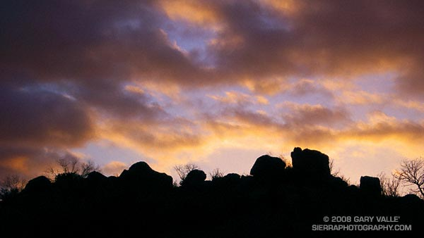 Silhouetted rock formation at sunset in Dayton Canyon in the Simi Hills.