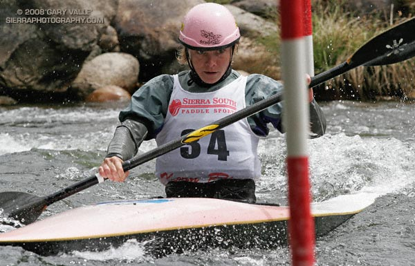 2002 World Champion and 2004 Olympic Silver Medalist Rebecca Giddens zeroes in on a red up gate while racing in the T.J. Slalom at the 2007 Kern River Kayak and Raft Festival.