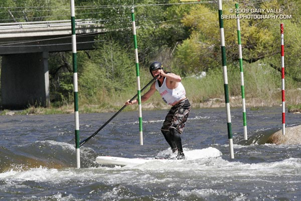 Dan Gavere paddling his SUP on the 2009 Kern River Festival slalom course.