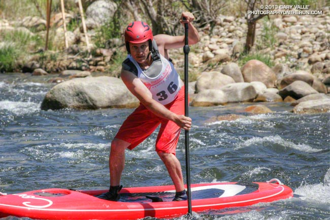 Corran Addison of Corran SUP, winner of the Men's SUP class in the Tom Johnson Slalom during the 2013 Kern River Festival.