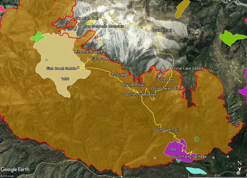 Overview of the South Fork - Dollar Lake - Dry Lake loop through the western flank of the 31,359 acre 2015 Lake Fire